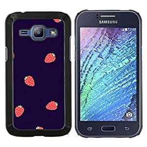 Fraise Baies été Violet Rouge - Metal de aluminio y de plástico duro Caja del teléfono - Negro - Samsung Galaxy J1 / J100