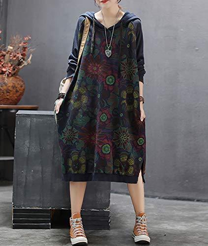 YESNO JCJ Women Casual Loose Ethnic Floral Hoodies Sweatshirts Jackets Long Sleeve /Pockets