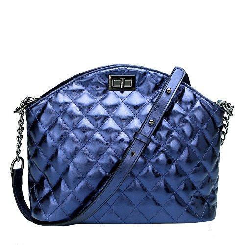 HGDR Frauen Echtes Leder Schultertasche Damen Kette Tasche Crossbody Messenger Bag Diagonal Paket Blue