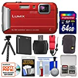 Panasonic Lumix DMC-TS30 Tough Shock & Waterproof Digital Camera (Red) with 64GB Card + Case + Battery + Flex Tripod + Float Strap + Kit