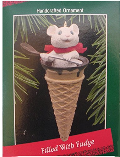 Hallmark Keepsake Ornament ; Filled With Fudge QX419-1 1988 ; Ice Cream Cone with Chocolate Hot Fudge (Chocolate Ornaments)