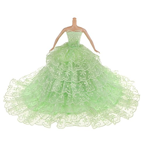 MagiDeal Green Strapless Princess Bride Wedding Party Dress for Barbie Doll (Bride Princess Doll)