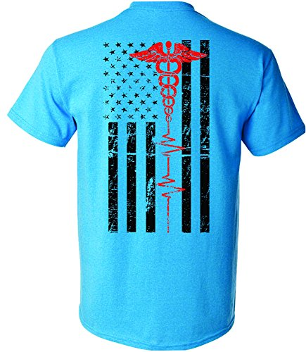 - Patriot Apparel Nurses Thin Red Line EMT First Responder Paramedic Nurse Men's Unisex Mens Fit T-Shirt Design (Medium, Sapphire Blue)