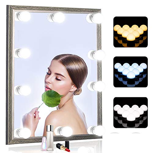 SICCOO Vanity Mirror Lights, 10 Dimmable Bulbs DIY Hollywood Style LED Makeup Mirror Lights with USB Cable, Lighting…