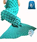 Mermaid Tail Blanket with Scale Knit Crochet and Mermaid Blanket for Adult,Sleeping Blanket (71″x35.5″, Scale-Green)