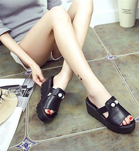 RuiHausschuhe Damen Sommer Mode dicken Hang mit kalten Pantoffeln High Heels 2