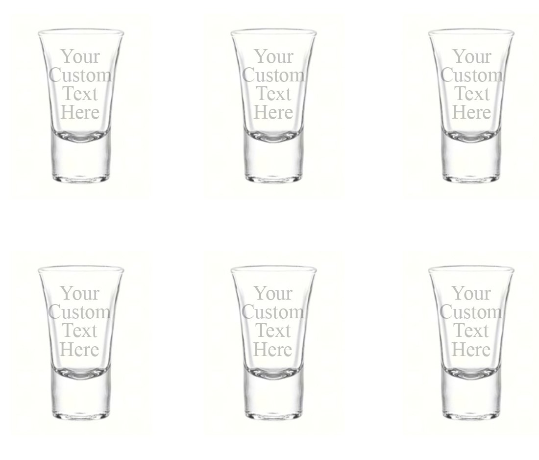 Personalized Set of 6 Custom Shot Glass Glasses (1.75oz) Free Engraving Groomsman and Bridesmaid Wedding Favor Gift (Single Side Engraving) by Hat Shark