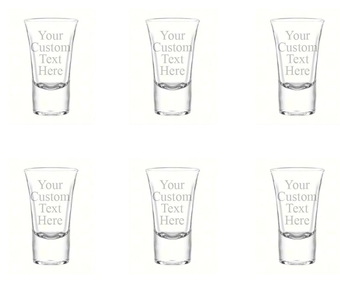 Personalized Set of 6 Custom Shot Glass Glasses (1.75oz) Free Engraving Groomsman and Bridesmaid Wedding Favor Gift (Single Side Engraving)
