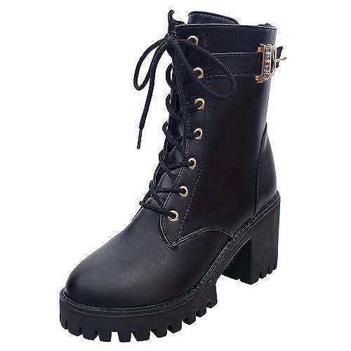 FAMILIZO Botas Moda Mujer Zapatos Oxford De Cuero Botas De Tobillo Cuñas Medio Martin Botas Otoño Botas Mujer Invierno: Amazon.es: Zapatos y complementos