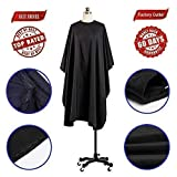 "Coobi Professional Hair Salon Nylon Cape with Snap Closure- 62"" x 50"" Black"
