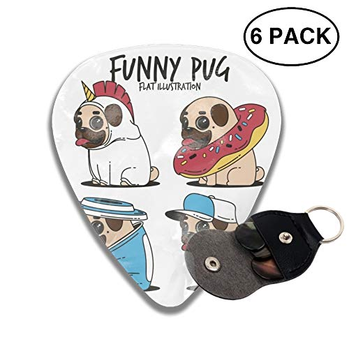 Fun Set Of Pugs With Costumes 3D Printed Custom Guitar Picks 6pcs Celluloid Bass Celluloid Material Same Pattern on Both Sides 0.46mm/0.71mm/0.96mm ()
