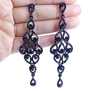 Janefashions Drops Austrian Crystal Rhinestone Silver-Plated Gold-Plated Navy Blue White Chandelier Dangle Earrings Bridal E2088