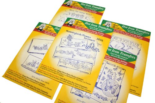 Aunt Martha's Iron On Transfer Patterns for Stitching, Embroidery or Fabric Painting, Patterns for Linens, Set of (Embroidery Linen Flowers)
