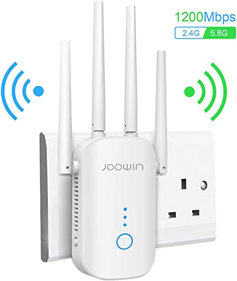 JOOWIN 1200Mbps WiFi Extender WiFi Range Booster 2.4GHz//5.8GHz Dual Band WiFi Booster Wireless Repeater//Access Point//Router Mode Compatible with Home Smart WiFi Devices