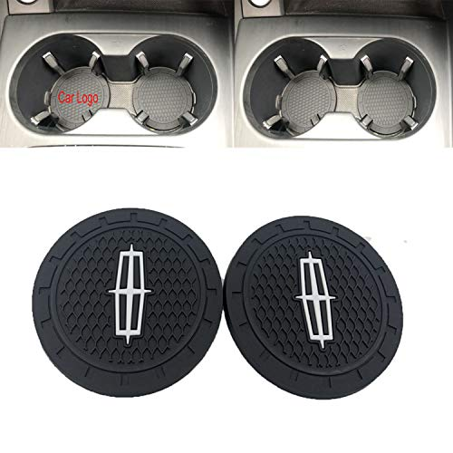Ldntly 2.75 Inch Diameter Car Cup Holder Coasters,Oval Tough Car Logo Vehicle Travel Auto Cup Logo Heavy Duty Rubber Coaster 2 pcs Set (for Lincoln)