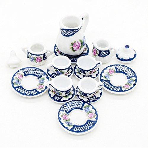 Odoria 1:12 Miniature 15PCS Porcelain Vintage Tea Cup Set Dollhouse Kitchen Accessories (Vintage Dolls House)