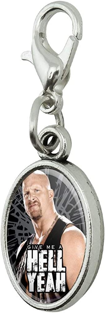 GRAPHICS /& MORE WWE Stone Cold Steve Austin Hell Yeah Antiqued Bracelet Pendant Zipper Pull Oval Charm with Lobster Clasp