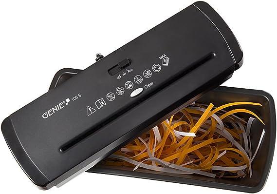 Trituradora de papel Genie 106 S Vario para cualquier papelera (hasta 6 hojas, corte en tiras), color negro: Amazon.es: Oficina y papelería