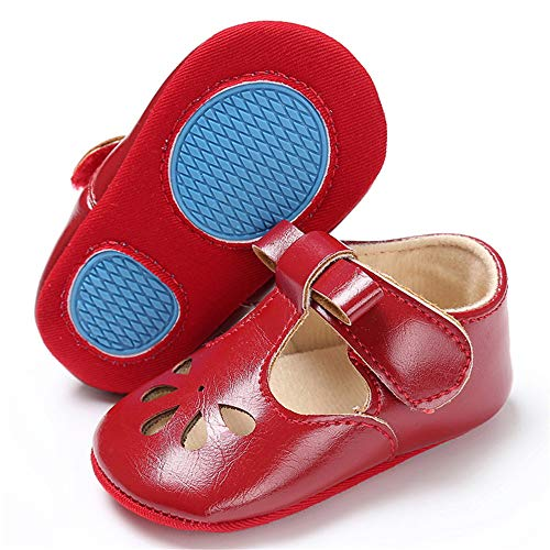 - TIMATEGO Baby Girls Mary Jane Flats Non-Slip Toddler Infant First Walkers Princess Dress Shoes(0-6 Months M US Infant,H-Wine Red)