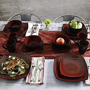 16 Piece Dinnerware Set By Gibson Home. This Soho Lounge Square Dinnerware Set Is an & Amazon.com | 16 Piece Dinnerware Set By Gibson Home. This Soho ...