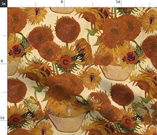 Sunflowers Fabric - Floral Van Gogh Yellow Gold Vase Orange Sunflowers Floral by Peacoquettedesigns Printed on Eco Canvas Fabric by The Yard