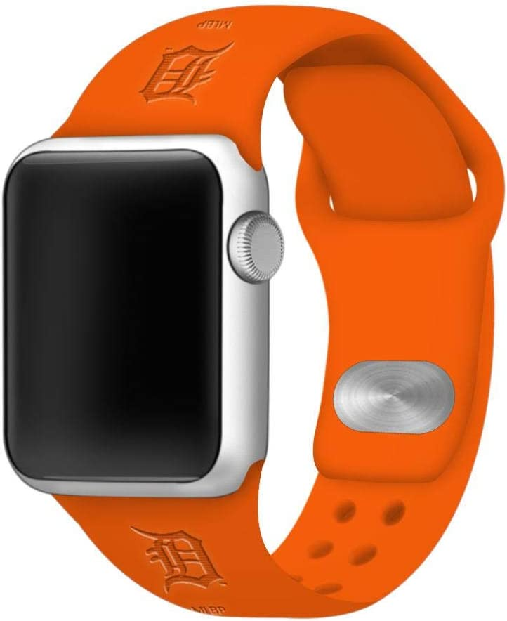 GAME TIME Detroit Tigers Debossed Silicone Sport Watch Band Compatible with Apple Watch (42mm/44mm - Orange)