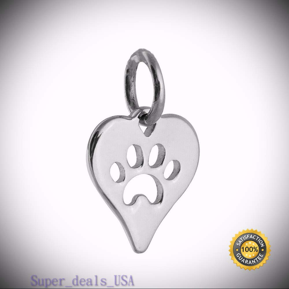 Tiny Paw in Heart Charm - 925 Sterling Silver - Paw Print Pendant Cat Dog Pet DIY Handmade Ornament Crafts by Super_deals_USA