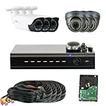 GW Security VD6CHT3 8-CH HD-TVI DVR 6 x 1/3 Inches 1.3 MP HDTVI CMOS Camera, 2.8 to 12 mm Manual Varifocal Lens, 720P (Colorful)