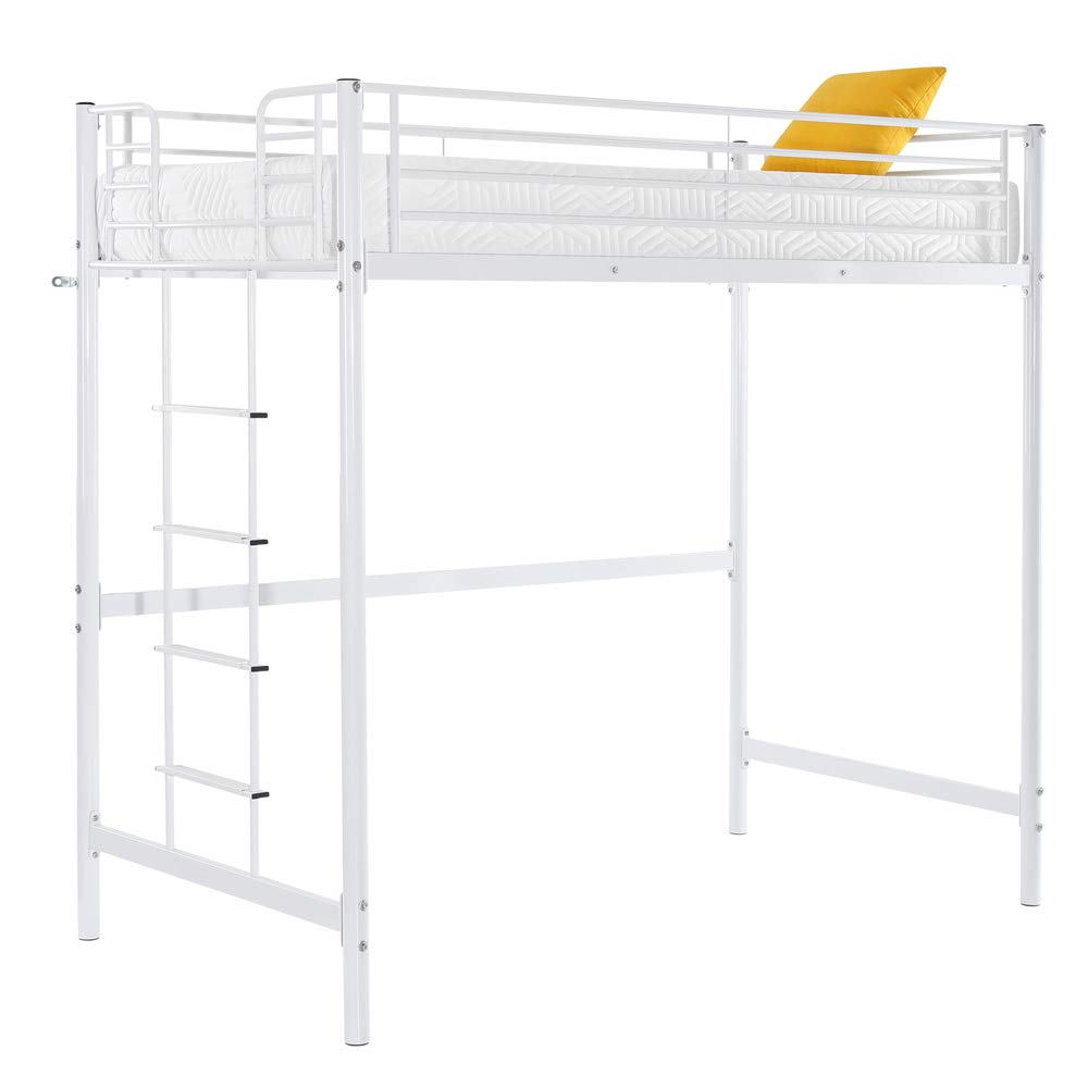 Bonnlo Twin Loft Bed for Kids/Girls/Junior/Teens, Space-Saving Metal Bed Frame, White