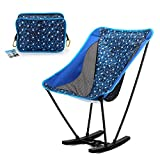 Yahill Portable Ultralight Collapsible Moon Leisure Camping rocker, Folding Chair with Carrying Bag for Indoor, Outdoor, Camping, Hiking, Travel, Hunting, Fishing(Blue)
