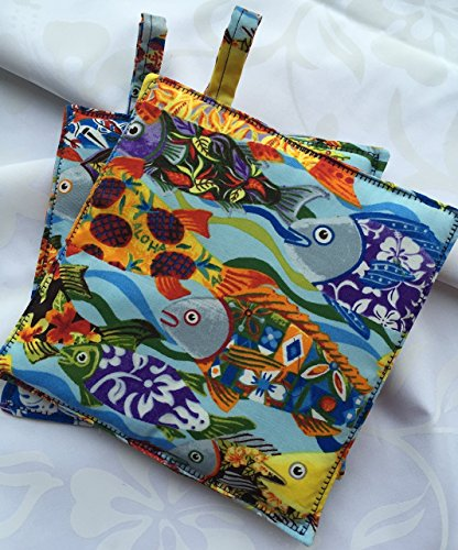Hawaiian Tropical Fish Pot Holders, Sold in SET of TWO