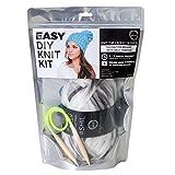D&Y Shil DIY Thick & Thin Beanie with Self Pom Hat Knit Kit Brooklyn-Grey