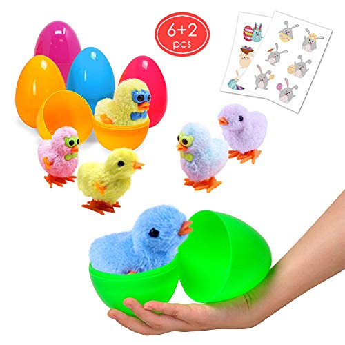 Large Surprise Eggs Filled 6 Pack Easter Eggs with Wind-Up Novelty Jumping Chics and Animal Stickers Inside, Colorful Pre Plastic Easter Eggs For Kids Easter Gifts Easter Basket Stuffers Fillers ()