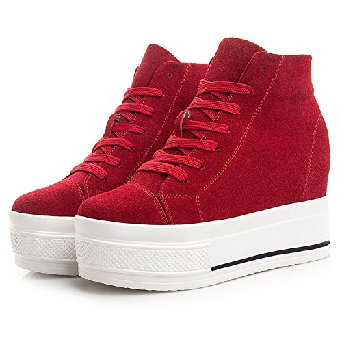 Btrada Womens High Top Casual Sneaker Lace-up Heel Aumentare Nascoste Scarpe Da Passeggio In Tela Scarpe Da Ginnastica Rosse