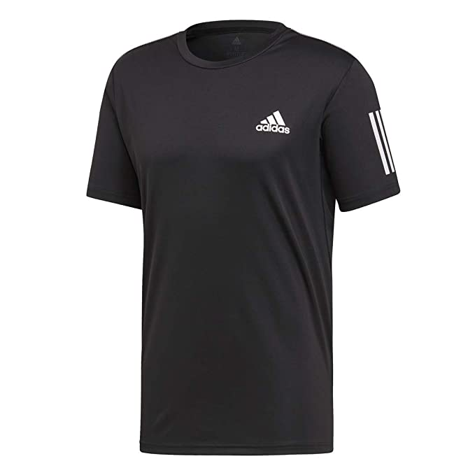 adidas Men's 3-Stripes Club Tennis Tee, Black/White, Large