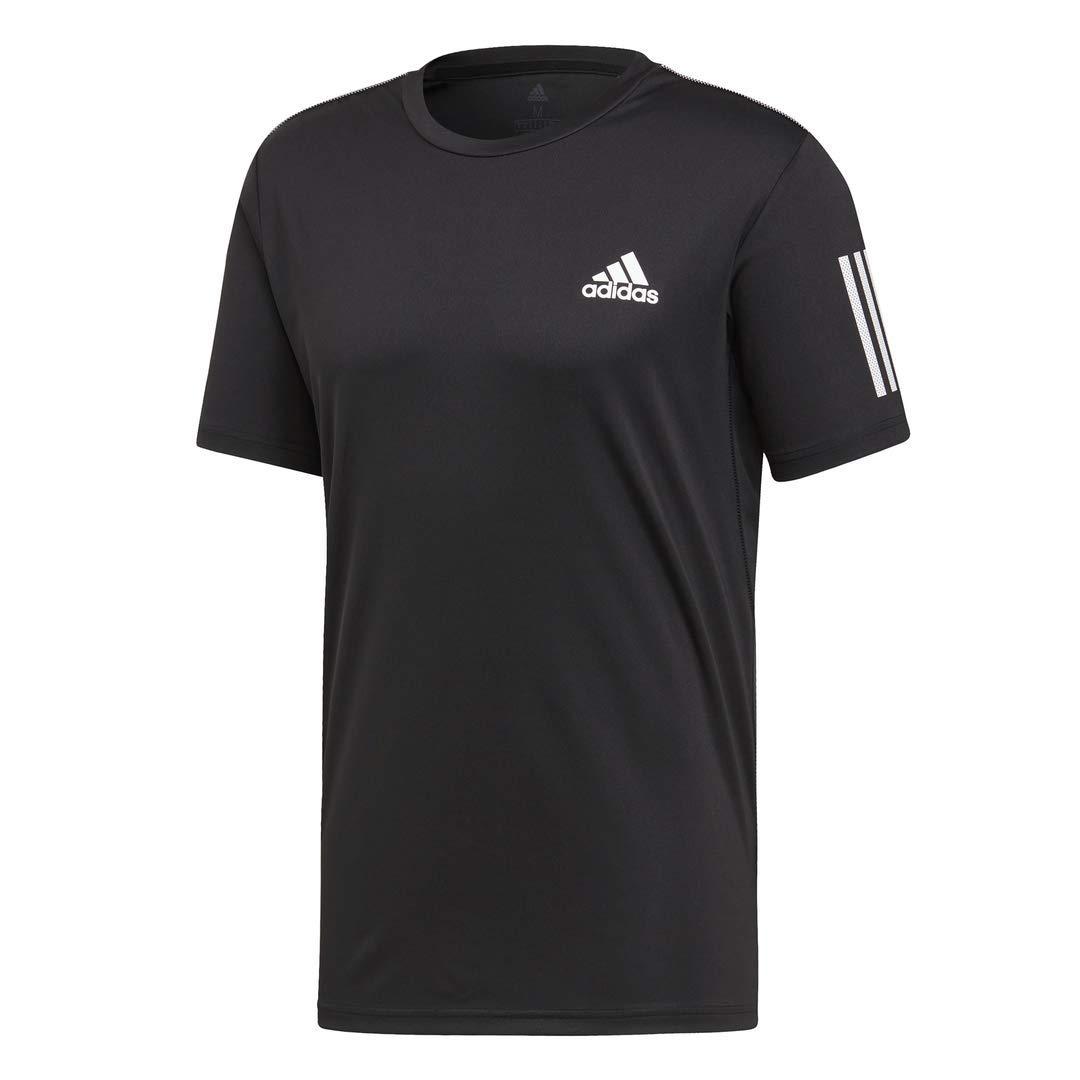 adidas Men's 3-Stripes Club Tennis Tee, Black/White, X-Small by adidas (Image #1)