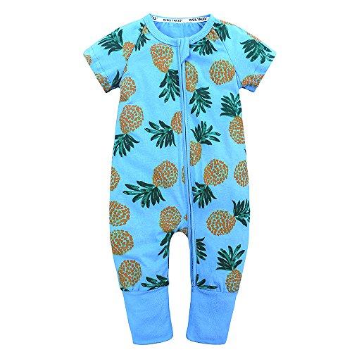 Kids Tales Baby Boys Girls Zipper Short Sleeve Pajama Sleeper Cotton Romper(Size 3M-3T) ()