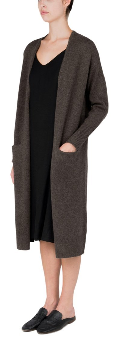 P.CASHMERE NYC Long Cardigan (Cocoa Brown, S)