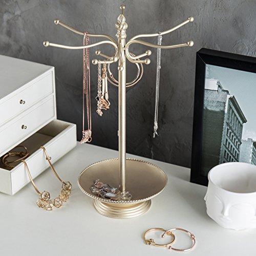 MyGift Brass-Tone Metal 12-Hook Jewelry Organizer Tree Rack w/Ring Dish Tray by MyGift (Image #2)