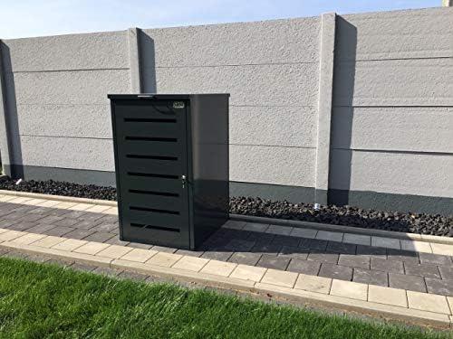 Srm-Design Mülltonnenbox Easy Modell No.6 für 120 Liter Mülltonnen/komplett Anthrazit RAL 7016 / witterungsbeständig durch Pulverbeschichtung/mit Klappdeckel und Fronttür