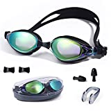 JUEQI Swim Goggles, Swimming Goggles No Leaking Mirrored Anti Fog UV Protection for Adult Men Women Youth Boy Girl Kids Child(Size Nose Bridges Supplied (S/M/L)), Triathlon Equipment (Style 1 Black)