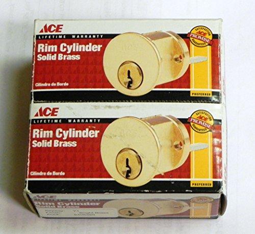 2-PACK ACE RIM CYLINDER BRIGHT BRASS Y1 KEYS & HARDWARE - Ace Rim Cylinder