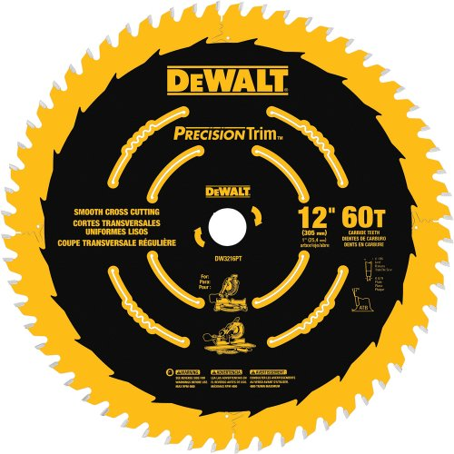 (DEWALT DW3216PT Precision Trim 12-Inch 60 Tooth ATB Crosscutting Saw Blade with 1-Inch Arbor and Tough Coat Finish)
