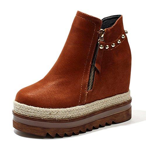 KHSKX-12Cm Muffins Unten Kurz Schuhe Stiefel Und Einer Koreanischen Version Und Baumwolle Stroh Dicke Boden Rivet Alle Treffer Martin Stiefel Schuhe. brown