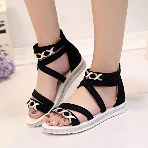DEESEE(TM) Women Flat Shoes Summer Soft Leather Leisure Ladies Sandals Black mZgkS
