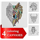 Coloring Canvases for Adults, 12x12 inches, Set of 4 Stretched Canvases, Best gift for coloring book lovers (Animals)