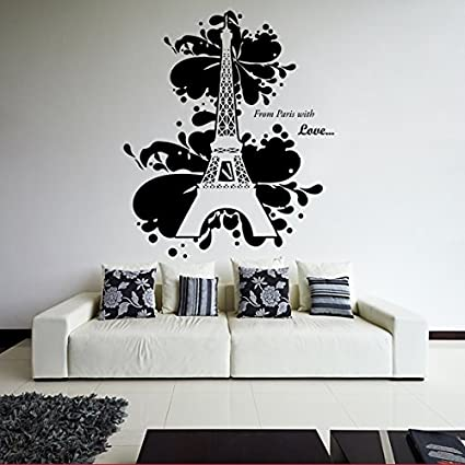 64x120 Cm Eiffel Tower With Text Words Ooh La La Paris Vinyl