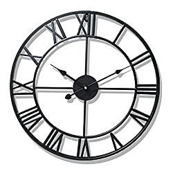 Hunter Garden Crafts Vintage Retro Iron Metal Wall Clock with Roman Numerals (Black)