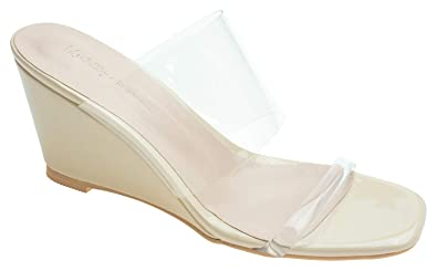 39050380f Image Unavailable. Image not available for. Color: AnnaKastle Womens  Transparent Clear Strap Wedge Heel Mule Sandals
