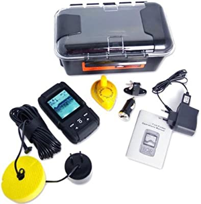 Gowe Rechargeable Waterproof 2-in-1 Fish Finder Fishfinder Sonar Transducer 328ft / 100m and 180m , Wired & Wireless Sensor